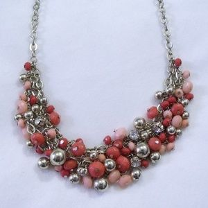 Pink and Gold Beaded Statement Necklace